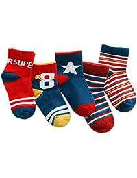 5 Par Calcetines de Canalé para Niños Algodón Invierno Calcetines Calientes con Print Rayas Estrellas, para Niños Niñas 3-5