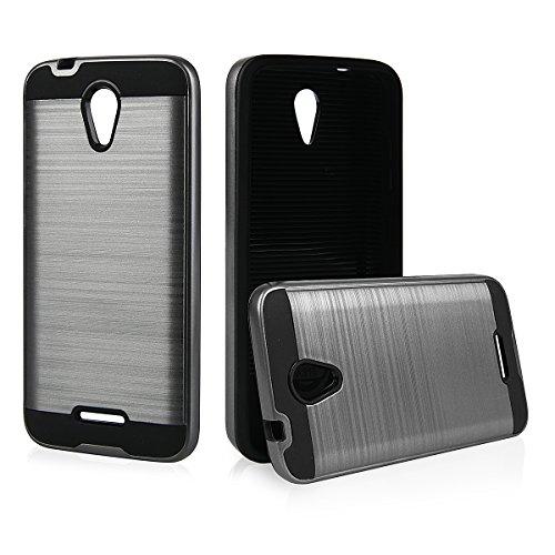EGO® Hard Case Schutz Hülle für ZTE Blade A310, Silber Metallic Effect Aluminium Brushed Handy Cover Schale Bumper Etui Top-Qualität Grau