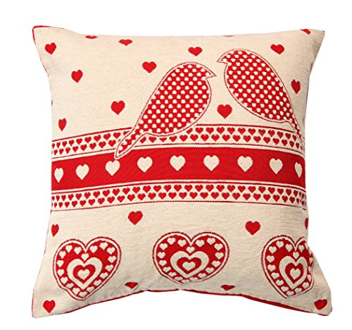 christmas-red-robin-cushion-cover-chenille-love-birds-43x43cms