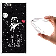Funda Elephone M2, WoowCase [ Elephone M2 ] Funda Silicona Gel Flexible Astronauta Corazón - I Love To the Moon And Back, Carcasa Case TPU Silicona - Transparente