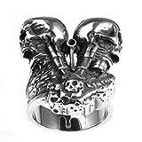 YBMEN Gioielli Anello in Titanio Anelli Unisex in Acciaio Inossidabile Punk Rock Cranio Motore Mens Band Ring