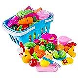 Forweilai Spielzeug Lebensmittel Kinder - 38 Stück Spielküche Zubehör - Korb mit Schneide Gemüse und Obst - Plastik Lebensmittel Kinder-Rollenspiele - (Blau)