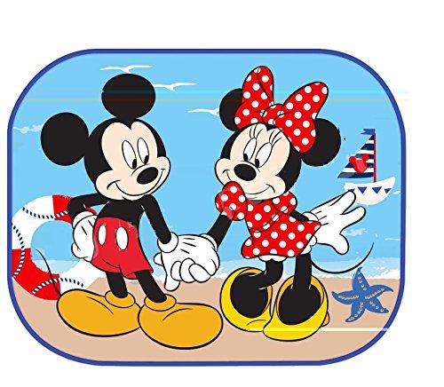 Disney | topolino e amici | 27028 | tendine parasole topolino e minni | set kit interni copri bambino e neonato per finestrini laterali con ventosa | dimensioni 44x35 cm | confezione da due pezzi