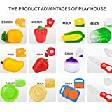 Simulation Fruit Vegetable Pretend Play Food Toys, Fat.chot Slices Cutting Share Educational Toys Cooking Game Party Dinner Kitchen Gift for Mom and Kids, Random Basket Style