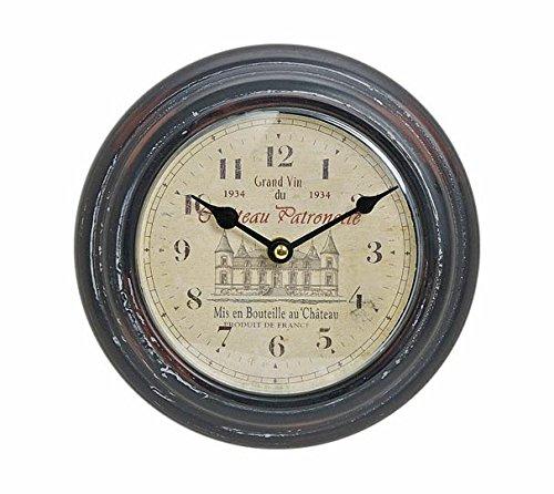 levandeo Wanduhr aus Metall 22cm - Motiv: France/Frankreich - Schloss - Uhr Nostalgie Landhaus - Stil