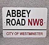 Ja242oe - Targa Metallica con Scritta Abbey Road City of Westminster London England Studios Landmark Street, in Alluminio, 8 x 12 cm