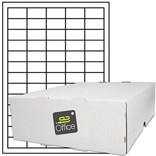 TE-Office 32500 Stück Haftetiketten Klebeetiketten Universal Aufkleber auf A4 Bogen weiß matt 38 x 21,2 mm Laser Inkjet