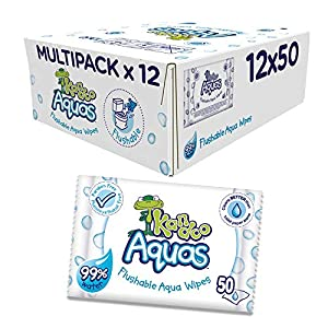 Kandoo Aquas Flushable Aqua wipes, Pack of 12, Total 600 wipes