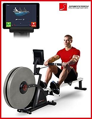 Sportstech RSX600 Máquina de remo profesional-Aire Magnético Accionamiento-Smartphone control App - 12 programas + 4 cardíaca-16 niveles resistencia-cinta pulsómetro compatible–modo competición