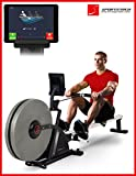 Sportstech RSX600 professional rowing machine - Air Magnetic Drive - smartphone control - fitness app - 12 rowing + 4 pulse programs - 16 resistance levels - pulsebelt compatible - competition mode
