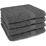 4 tlg Handtuch Set Frottee Premium Farbe Anthrazit Grau 4 Handtücher 50 x 100 cm 100% Baumwolle