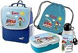 Kindergartenrucksack Happy Knirps NEXT mit Name und Wunschmotiv (blau, SET 5: Rucksack Brotdose Turnbeutel Trinkflasche)