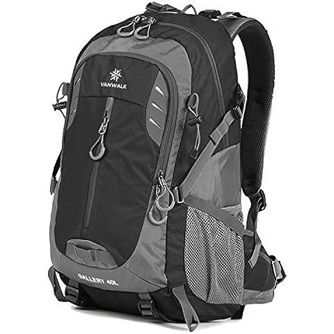 Vanwalk 30L nylon di campeggio Zaino militare Escursionismo Bag-più resistente Packable Handy leggero viaggio Daypack dello zaino (Dark Heather Grey) (40L black)