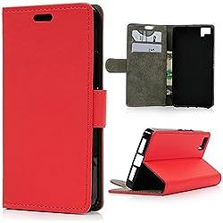 bq Aquaris M5 Funda Libro de PU Leather Cuero Suave - Mavis's Diary® Carcasa para BQ M5 Con [Flip Case Cover] [Cierre Magnético] [Función de Soporte] [Billetera con Tapa para Tarjetas]-Diseño de líneas del lichí Rojo