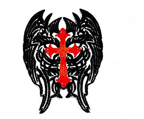 (rabanared Kreuz Christian Jesus Engel Flügel schwarz Feder Kette Biker Motorrad Patch für Heimwerker-Applikation Eisen auf Patch T Shirt Patch Sew Iron on gesticktes Badge Schild Kostüm)
