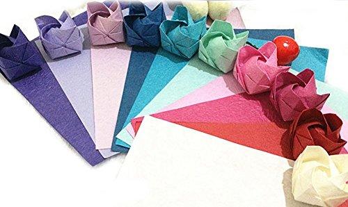 Glanz 200Blatt Origami Papier, 15x 15cm in 10verschiedenen Farben Papier Krepppapier, Hand Rub Rose Origami