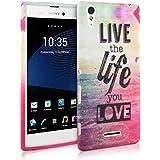 kwmobile FUNDA de TPU silicona para Sony Xperia T3 Style Diseño Live the Life multicolor rosa fucsia azul - Estilosa funda de diseño de TPU blando de alta calidad