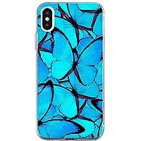 Oihxse Funda Conpatible con iPhone 6+ Plus/6S+ Plus 5.5\'\' Silicona Transparente Dibujos Mariposa Cover Suave TPU Gel Cristal Clear Delgada Anti- Arañazos Protección Carcasa Case,Azul 2