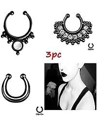 Chooz Designer Studio Black Metal Crystal Nose Ring Without Piercing Septum / Clip On Ring Clicker For Women