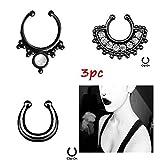 Best Nose Piercings - Chooz Designer Studio Black Metal Crystal Nose Ring Review