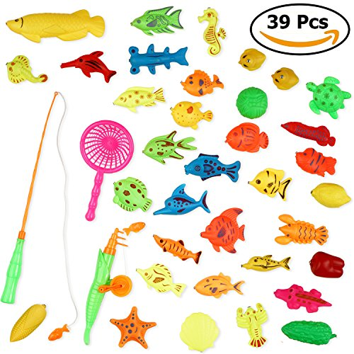 THE TWIDDLERS 39 Unidades de Juguetes / Juego de Pesca magnéticos - en Múltiples Colores y Diseños - Ideales para el Baño y como Juguetes de Piscina - Incluye Caña de Pescar