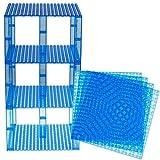 Strictly Briks Pack de 4 Bases y 30 Piezas apilables con Ladrillos separadores 2 x 2 - Construcción en Forma de Torre - Compatible con Todas Las Marcas - Azul Transparente - 15,24 x 15,24 cm