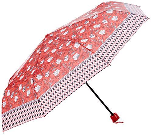 PERLETTI 25973 Mini 54/8 - Paraguas para Hombre (geométrico, 3 Secciones, diseño de Flores, Resistente al Viento)