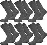 normani 6 Paar Qualitäts Socken ohne Gummidruck mit 95% Baumwolle und 5% Elasthan/handgekettelt Farbe Anthrazit Größe 43-46