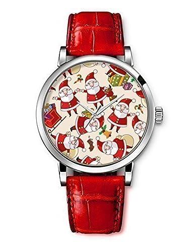 iCreat Damen Analog Armbanduhr Rot echte Leather Schönes Zifferblatt mit Frohe Weihnachten Weihnachtsmann