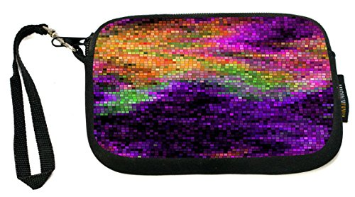 Rikki Knight Grunge Purple Rainbow Mosaic - Neoprene Clutch Wristlet Coin Purse with Safety Closure - Ideal case for Cosmetics Case, Camera Case, Cell Phones, Passport, etc..