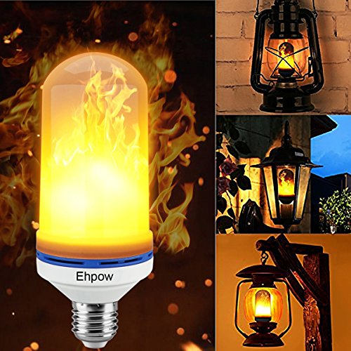 Ehpow LED Flame Effect Fire Light Birne E27 LED Flackern Flame Light Birne, Simuliertes Naturfeuer in antiker Laterne Atmosphäre für Ferienhotel / Bars / Home Decoration / Restaurants (1Pcs)