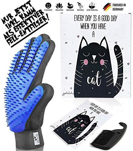 GOLDSTA ANIMALS® Wieder erhältlich 2in1 Bestseller Haustier Bürsten Handschuh-Set I Enthaarungs Wunder + extra Kamm für Katzen | Innovativer Massage-Bade I Katzenbürste I Ideal als Geschenk
