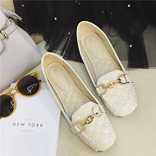 WYMBS Le cadeau le plus intime La nouvelle chaîne en métal, fond plat womens chaussures simple, plat à tête carré femelle occasionnels chaussures de talon apricot