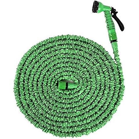 Ohuhu® 15M 50Ft Tubo per Giardino Super Forte / Tubo Acqua Espandibile con Connettore Plastico & Ugello Spruzzo 7-pattern Gratuito, Verde