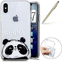 Herbests Handy Tasche für iPhone XS Silikon Hülle Durchsichtige Schutzhülle Crystal Clear Transparent Ultra Dünn Handyhülle Silikonhülle Kristall Klar TPU Bumper,Panda
