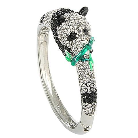 Ever Faith - Cristal Autrichien panda ours Bracelet Transparent Plaqué Argent A00982-3