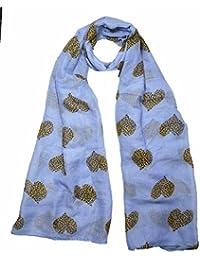 Super luxury large maxi scarf Leopard Heart print Blue