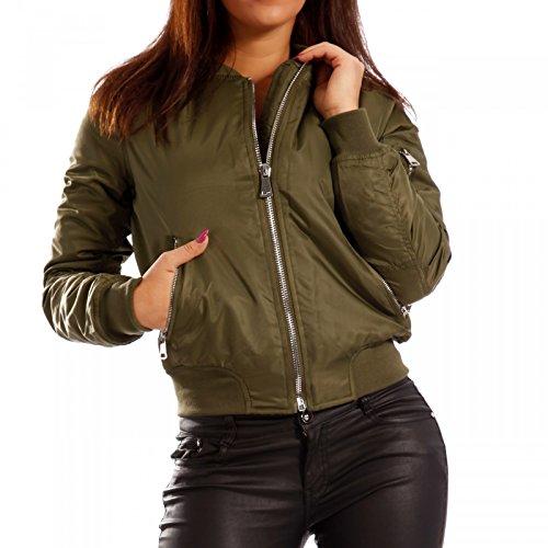 Damen Bomberjacke Zipper Fliegerjacke Pilotenjacke , Farbe:Khaki;Größe:34