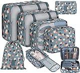 DIMJ - Organizer per valigia, cubici, da viaggio, set di 8, sacchetti per valigia per vestiti, scarpe e cosmetici Blu Fiore L