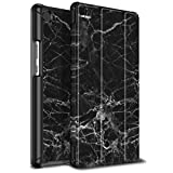 Infiland Huawei MediaPad M5 8.4 Hülle Case, Ultra Dünn PU Leder Superleicht Tri-Fold Ständer Schutzhülle Etui für Huawei MediaPad M5 8,4 Zoll Tablet-PC(mit Auto Schlaf/Wach Funktion),Schwarz Marmor