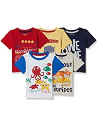 Donuts by Unlimited Baby Boys' Plain Regular Fit T-Shirt (Pack of 5)(Colors & Print May Vary)