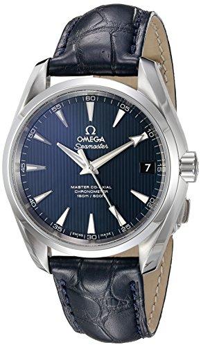 OMEGA Herren-Armbanduhr 38mm Armband Leder Blau Gehäuse Edelstahl Schweizer Automatik 23113392103001