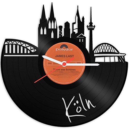 GRAVURZEILE Skyline Köln Wanduhr aus Vinyl Schallplattenuhr Vinyl-Uhr Upcycling Design Uhr Wand-Deko Vintage-Uhr Wand-Dekoration Retro-Uhr Made in Germany