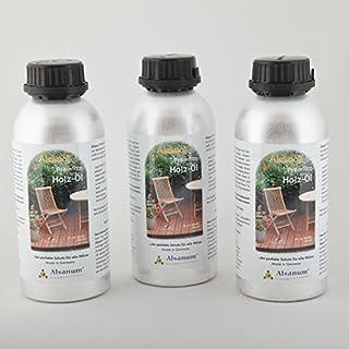 3er Set Alsanol Premium Holz-Öl (3 x 500 ml) in der Alu-Flasche