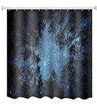 A.Monamour Psychedelischen Blauen Wald Bäume Und Sterne Sternenhimmel Nachthimmel Bild Drucken Wasserdicht Mehltau Resistent Stoff Polyester Duschvorhang Für Bad Décor 180X180 cm / 72X72 Zoll