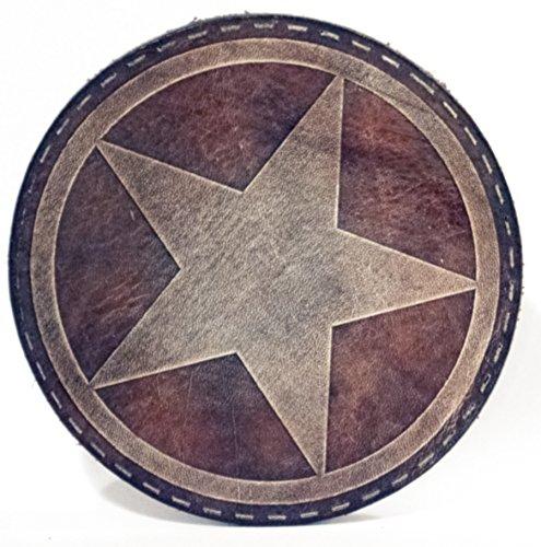 """Glas Untersetzer """"Army Star"""", Cognac Heritage, handgearbeitet aus 100% echtem Vintage Leder, Kreisdurchmesser ist 11cm"""