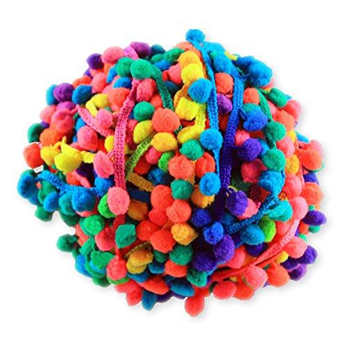 Yalulu 20 Yards Mehrfarbig Pompons Hairball Regenbogen Spitze Trim-Band für DIY Fertigkeit und Dekorieren Nähen Zubehörteil