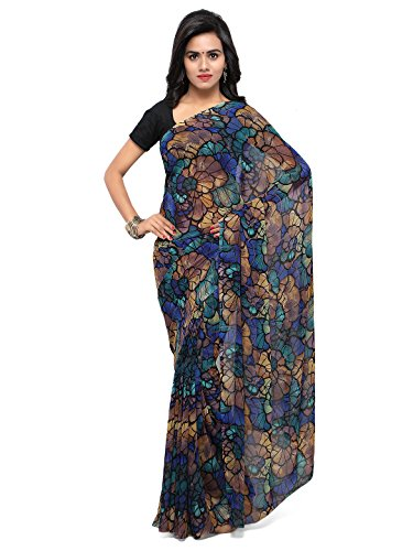 Womanista Women's Printed Faux Georgette Saree with Blouse Piece (FSP210-Brown & Blue-Free Size)