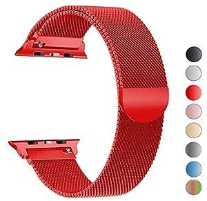 Für Apple Watch Armband 38mm, VIKATech Milanese Schlaufe Edelstahl Smart Watch Armbänder mit einzigartiger Magnetverriegelung ohne Schnalle für Apple Watch Armband 38mm Series 3 / 2 / 1, Sport, Edition, Rot
