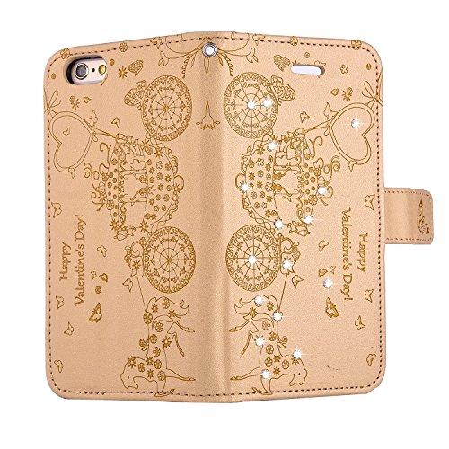 PU Cuir Coque Strass Case Etui Coque étui de portefeuille protection Coque Case Cas Cuir Swag Pour Apple iPhone 6 Plus (5.5 pouces) +Bouchons de poussière (4PP) 6
